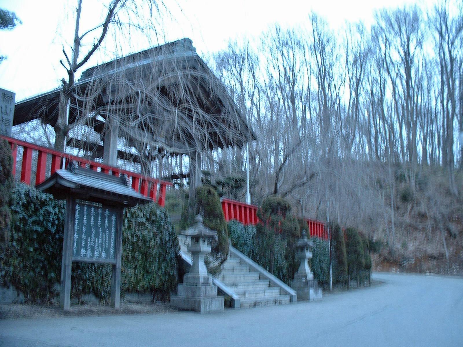 桜咲く前の榊山稲荷神社