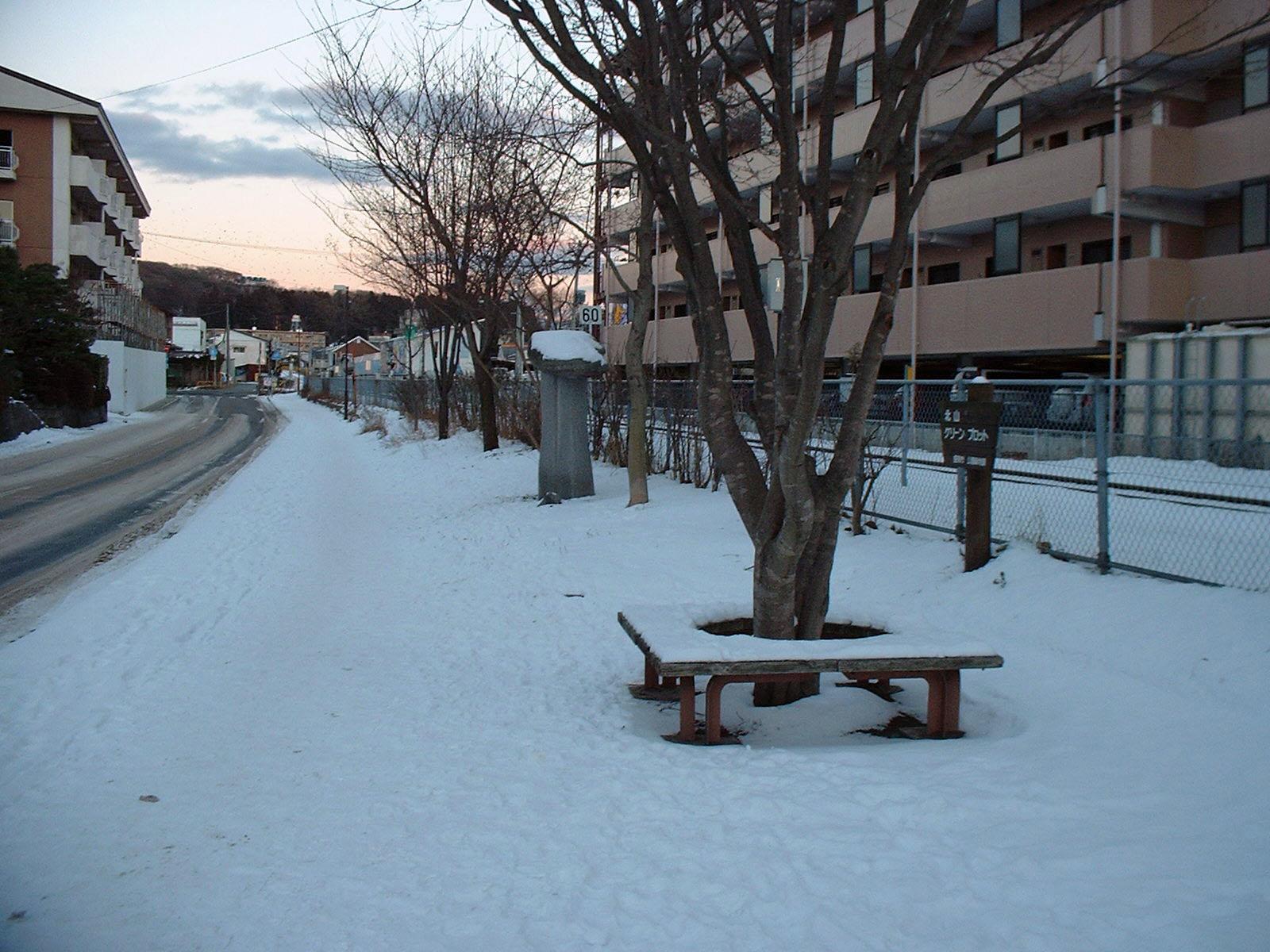 雪の中の小ベンチ