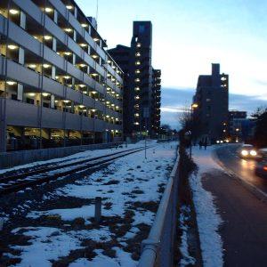 2002年01月トップ画像 02 夕雪の線路